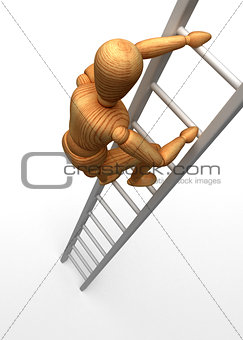 Mannequin climbing stairs