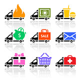 Delivery truck colored icons