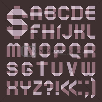 Font from lilac scotch tape -  Roman alphabet
