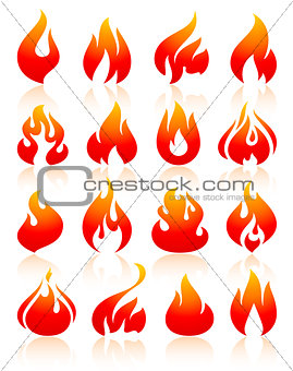 Fire flames redish, set icons