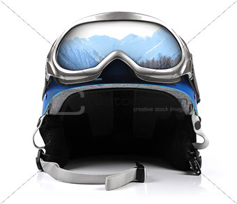 blue snowboard helmet with goggles