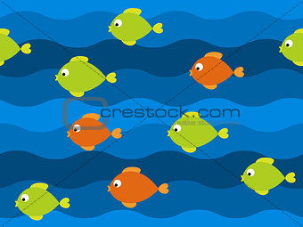 Vector fish seamless pattern