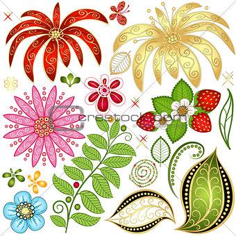 Set colorful floral design elements