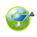 Eco logo of solar panel