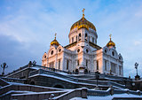 Cathedral of Christ the Savior at winter sunset