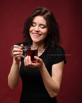 beautiful woman with cup of tea