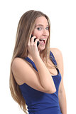 Woman happy on the mobile phone