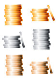 Bronze, silver and gold stacks of coins