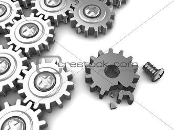 broken gear wheel