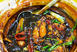 Claypot Frog Legs Dish Closeup