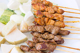 Mutton and Chicken Satay Dish Macro