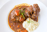 Ox Tail Stew with Mashed Potatoes Closeup