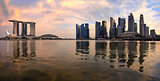 Reflection of Singapore Skyline Panorama