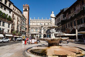 Fountain and Statue of Madonna on Piazza delle Erbe in Verona, V