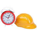 Red alarm and yellow helmet