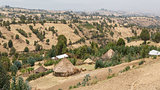Village huts on the hills