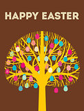 Yellow Happy Easter tree greeting card with eggs in warm colours. Vector Illustration