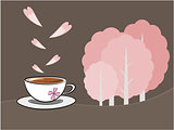 Coffee and sakura flower illustration