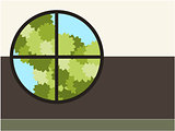 Tree in windows background illustration