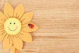 wooden board for spring message with flowers