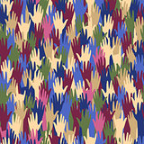 Seamless pattern with multicolored hands