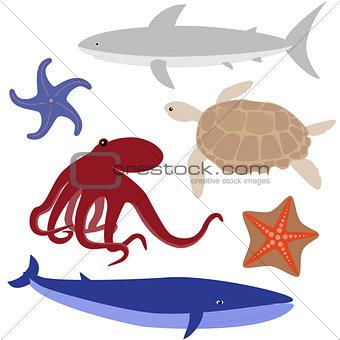 Cartoon sea life set 4