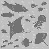 Seamless pattern with fish silhouettes