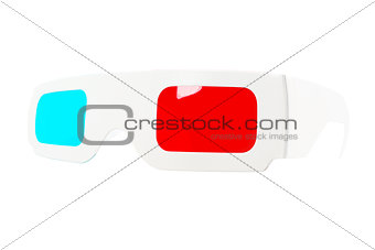 Fish-eye view of red-and-blue disposable glasses