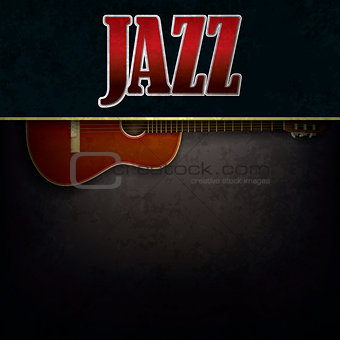 abstract background with word jazz and accoustic guitar