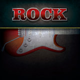 abstract background with word rock and electric guitar