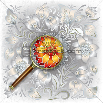 abstract background with magnifying glass and floral ornament