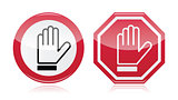 Stop warning road sign with hand