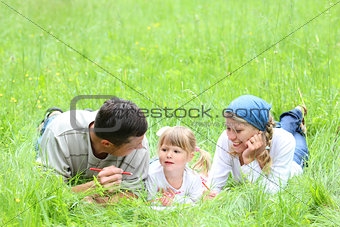 young family in nature