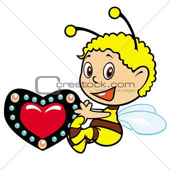 little bee holding heart