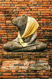 old buddha statue in ayutthaya thailand
