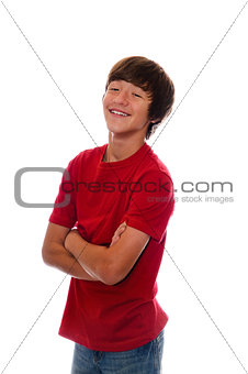 Happy teen with arms crossed