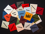 Hello, Bonjour, Nichiwa! Hello in different languages - Sign for business, PR, customer relations.