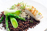 butterfish with green lentils, leek and green asparagus