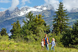 Summer mountain landscape and family (Alps, Switzerland)