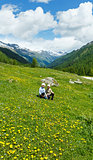 Children on summer mountain meadow (Alps, Switzerland)