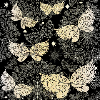Vintage dark seamless pattern