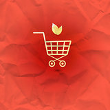 Sign shopping basket on a red background
