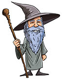 Friendly cartoon Wizard with staff