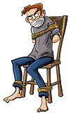 Angry man tied to a chair with ropes