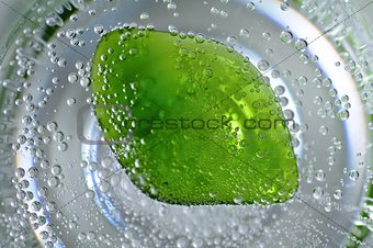 Sparkling water with gemstone