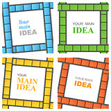 vector set of frames of the film in bright colors