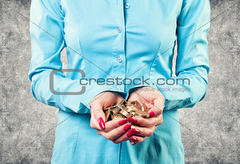 Girl with a coins