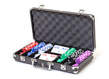 Poker Set in a Metallic Case