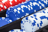 Stacks of Multicolored Poker Chips