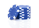 Small Stack of Blue Poker Chips